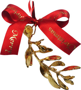 Add a 24kt gold mistletoe sprig