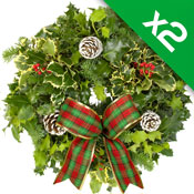 2 x Luxury Holly Wreath on 8Inch Lush Moss Ring
